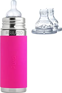 Pura Kiki Stainless Steel 9 Ounce Vacuum Insulated Infant Bottle plus 2 XL Sipper Spouts, Pink