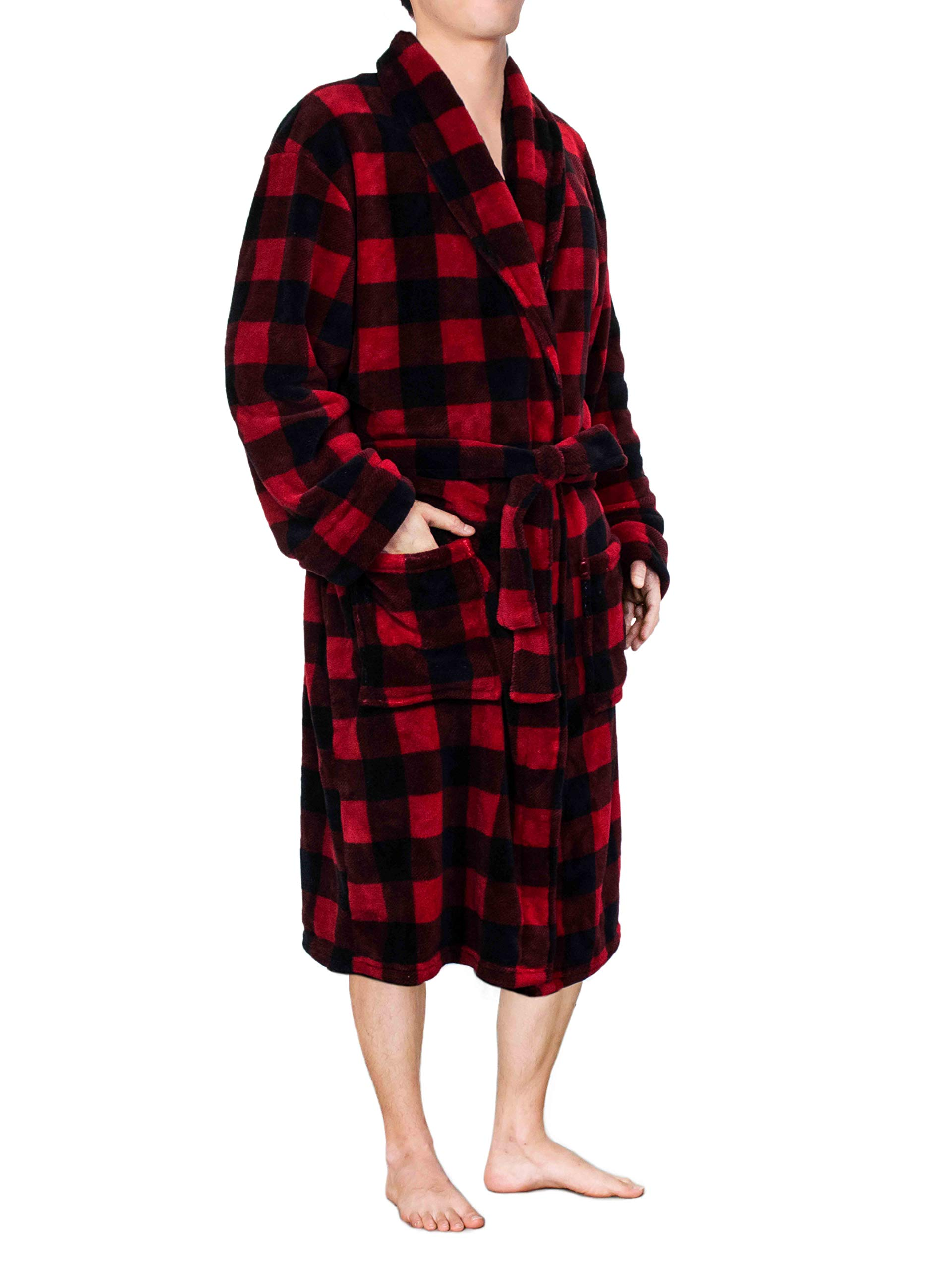 Image of Fleece Red Plaid Bath Robe for Men - See More Colors