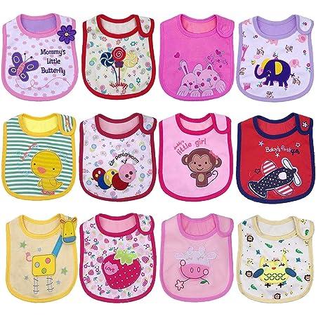 Yafane 12 pcs Baberos Impermeables Baberos Bebé para Niños y Niñas Bandana Algodón Absorbente Recien Nacido 3-24 meses (Niñas)