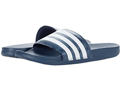 adidas Adilette Comfort Slides (Crew Navy/White/Crew Blue) Athletic Shoes