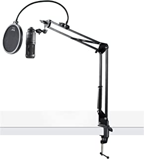 Audio-Technica AT2020USB+ Cardioid Condenser USB Microphone with Boom Arm Stand and Pop Filter Bundle (3 Items)