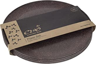 """EVO Sustainable Goods 10"""" Plate, Set of Four, Dark Brown"""