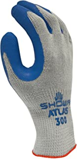 SHOWA Atlas 300M-08 Fit Palm Coating Natural Rubber Glove, Blue, Medium (Pack of 12 Pairs)