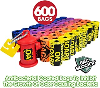 Bags on Board Dog Poop Bags | Strong, Leak Proof Dog Waste Bags | 9 x14 Inch Assorted Color Bags