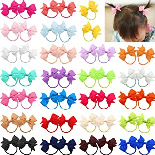"""50pcs 2"""" Baby Bows Hair Ties Rubber Band Ribbon Hair bands Ropes for Baby Girls Kids Children 25 Colors in Pairs"""