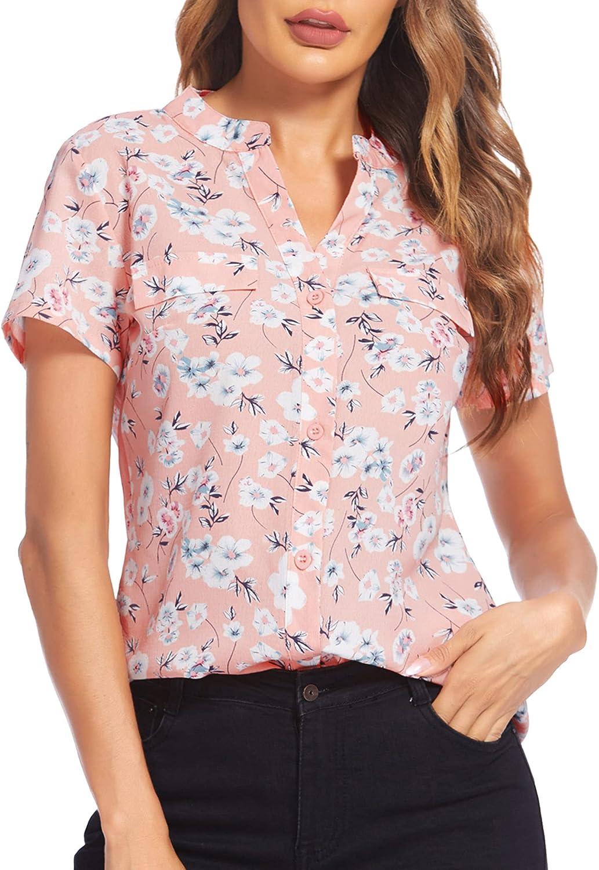 SoTeer Women Button Down Chiffon Shirts Floral Printed Henley V