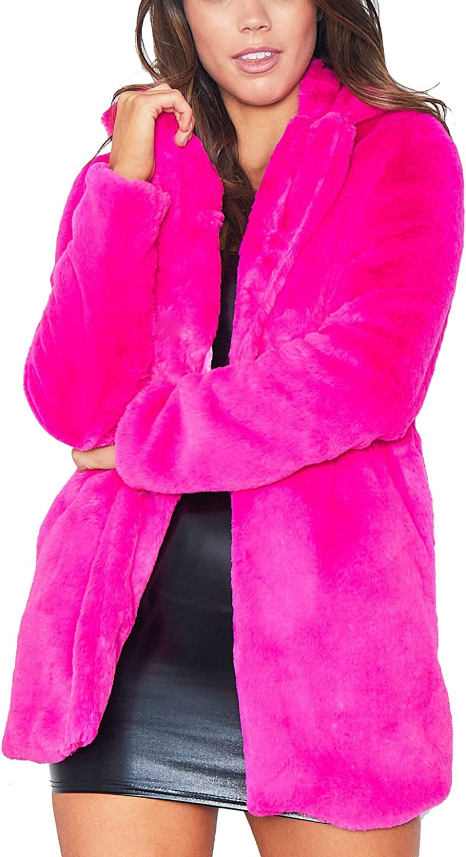 Remelon Womens Long Sleeve Winter Warm Lapel Fox Faux Fur Coat J
