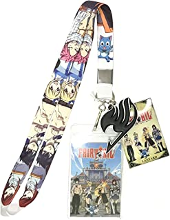 Fairy Tail Team Natsu Line-Up Lanyard With Badge ID Holder and PVC Guild Charm
