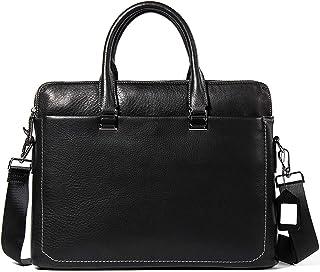 Shoulder Bags First Layer Leather Portable Briefcase Men's Leather Work Bag Square Business Bag Black Leisure Cross Section Laptop Messenger Bag 6L