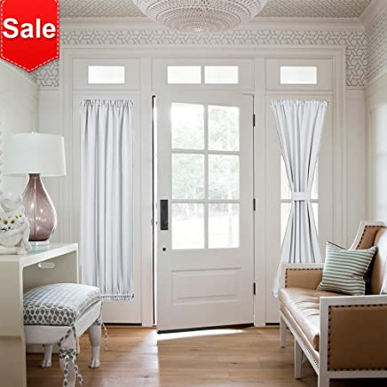 "NICETOWN Room Darkening French Door Curtains - Room Darkening Patio Door Thermal Curtain Panels, Sidelights Door Panels 25"" W x 72"" L - Platinum(Greyish White) 