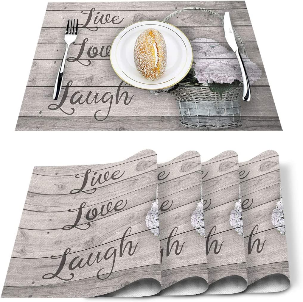 wanxinfu Set of 6 Placemats Washable for 国内在庫 Tabl Dining 爆買い送料無料 Place Mats