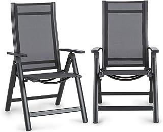 comprar comparacion Blumfeldt Cádiz Garden Chair - Dos sillas de jardín, Plegables, Estructura Aluminio, Protección Pintura en Polvo, Tela 2x2...