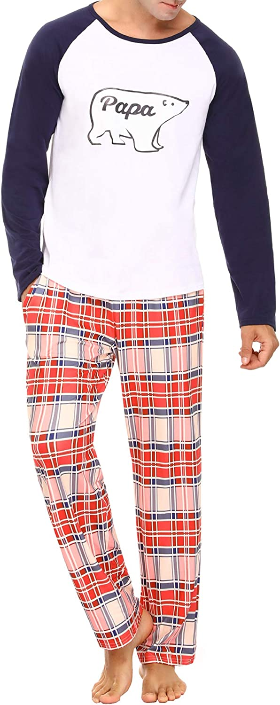 Aibrou Matching Family Christmas Pajamas Sets Dad Mom Baby Kid Holiday PJ Merry Christmas Printing Sleepwear