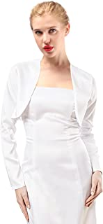 Womens Satin Long Sleeve Bolero Shrug Jacket Cardigan