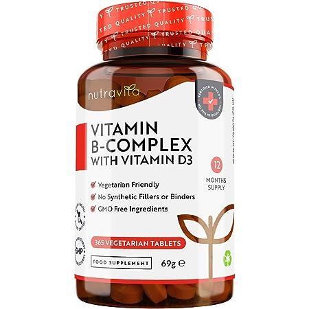 B-complex con D3-365 Compresse Vegetariane - Fornitura per 1 Anno - Complesso 8 Vitamine B ad Alta Dosaggio in 1 Compressa - B1, B2, B3, B5, B6, B12, Biotina, Acido folico - Prodotto da Nutravita