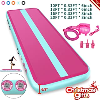 Furgle Air Track 3.3ft/10ft/13ft/16ft/20ft Tumble Track Inflatable Gymnastic Mat, 4/6/8 inches Thickness Tumbling Air Track for Gymnastics/Yoga/Cheerleading Training Airtrack Mat