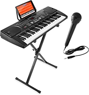 Sponsored Ad - Hamzer 61-Key Electronic Piano Electric Organ Music Keyboard with Stand, Microphone, & Sticker Sheet - Black