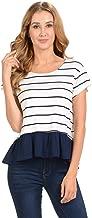 W5 Women's Stripes Ruffle Hem Top