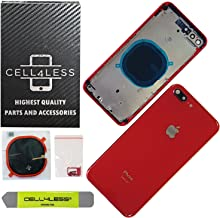 CELL4LESS Back Housing Assembly Metal Frame w/Back Glass - Wireless Charging pad - Sim Card Tray and Camera Frame and Lens for iPhone 8 Plus (Red)