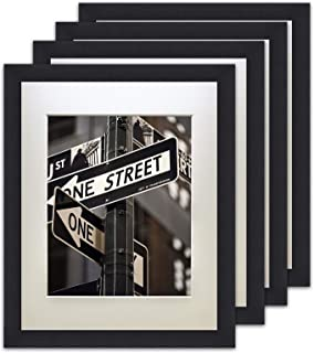 The Display Guys – Square Profile Picture Frame – Solid Black Wood with Tempered..