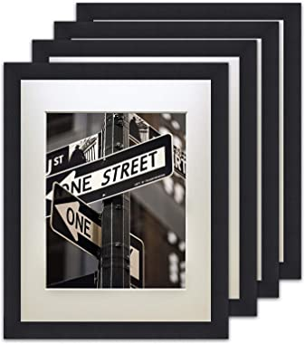 """The Display Guys – SquareProfilePicture Frame – Solid Black Wood with Mat – Wall Mounted – Tabletop Display- Solid Black Wood - 16"""" x 20"""" - Set of 4"""