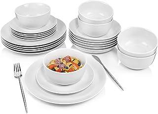 24-teiliges Elfenbeinwei/ßes Porzellan Gr/üne Linien Tafelservice Porzellan Geschirr Set mit Sch/üssel und Teller Set Service f/ür 6 Personen