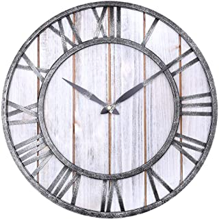"WarmieHomy Wall Clock Rustic Decoration 3D Roman Numerals Atomic Wall Clock,16"" Wall Clock Home Decor Analog Black Metal C..."