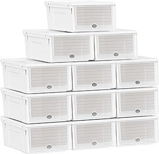 SONGMICS Boîtes à Chaussures en Plastique, Lot de 12, Organisateur, Rangement, avec Porte Avant, empilables, Blanc LSP112W01