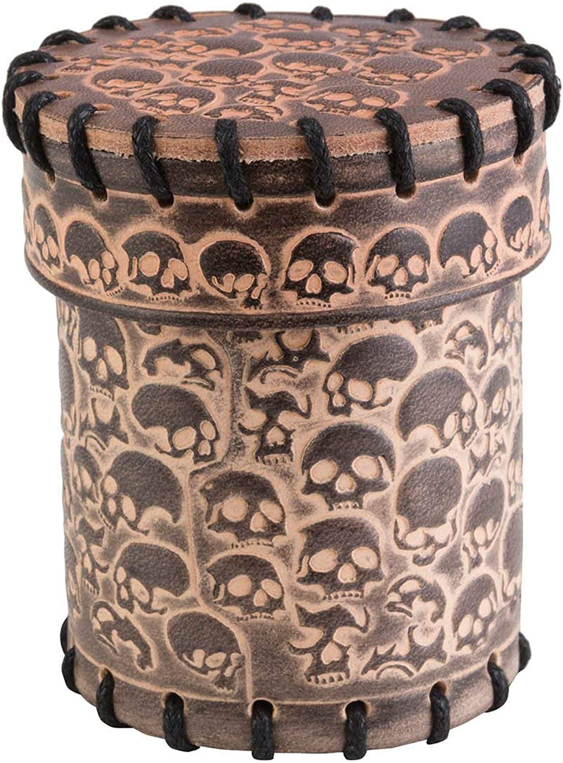 Q Workshop CSKU124 Skully Beige Leather Dice Cup