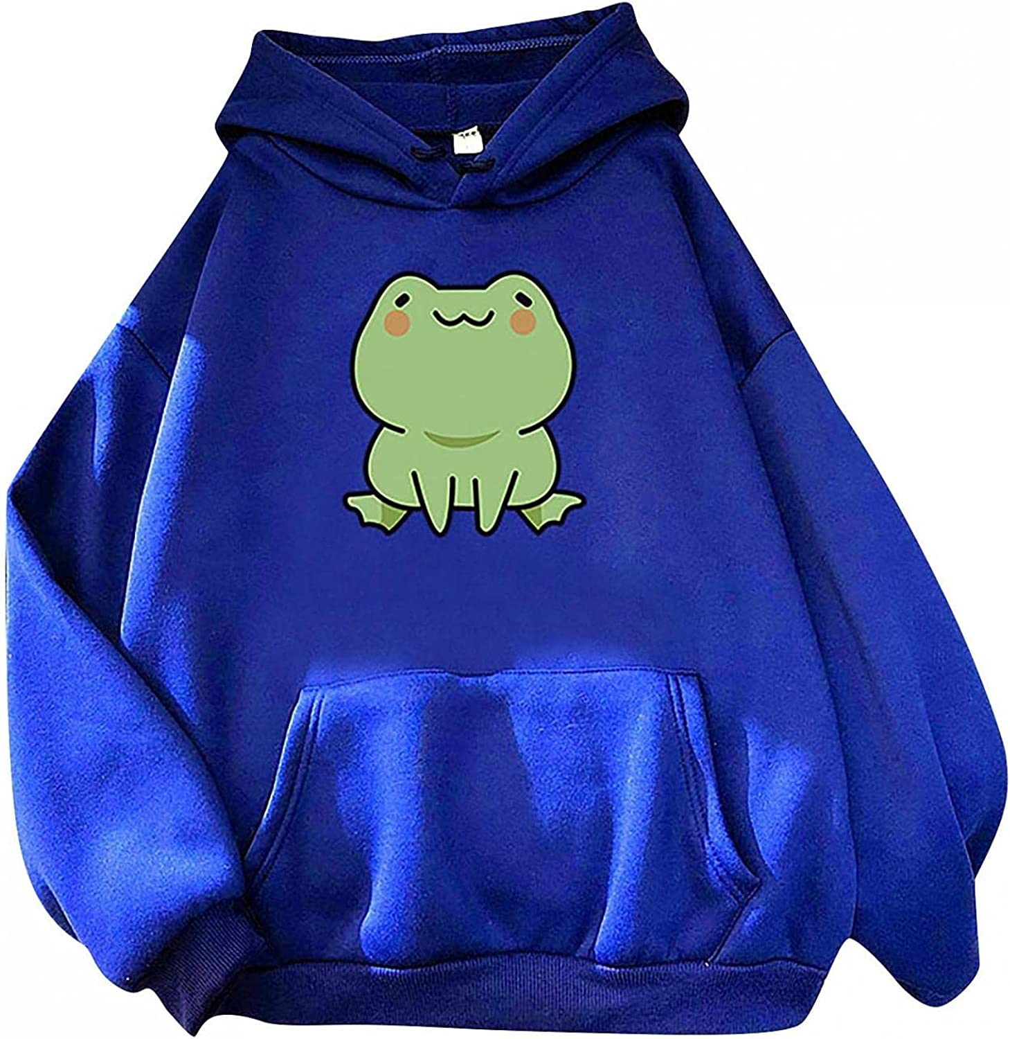 Haheyrte Hoodies for Womens Long Sleeve Cute Animal Frog Printed Hooded Blouse Casual Loose Sweatshirts Pullover Tops Shirts