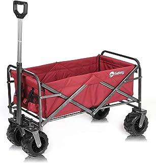 Sekey Carro Plegable Carro de Mano Carrito Playa Carro Transporte para Jardín hasta 120kg 360° Giratorio Apto para Todo Terreno, Rojo