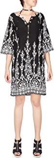 Women's 3/4 Sleeve Printed V Neck Cover up Tunic Dress with Waist Belt