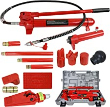 F2C 10 Ton Capacity Porta Power Hydraulic Bottle Jack Ram Pump Auto Body Frame Repair Tool Kit Power Set Auto Tool for Automotive, Truck, Farm and Heavy Equipment/Construction