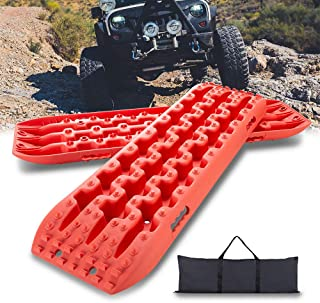 IKURAM Recovery Boards Traction Tracks Mat, 2 Pcs Traction Boards Offroad with Bag for 4X4 Jeep Off-Road Mud, Sand, Snow Traction Ladder, Track Tire Ladder, Tire Traction Tool- Pink
