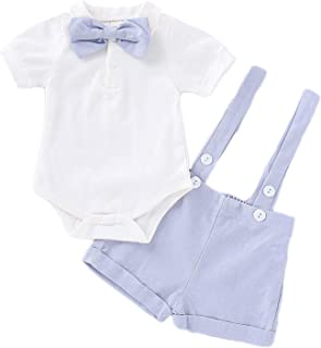 MLCHNCO Baby Boys Formal Suit Gentleman Bowtie Short Sleeve Romper + Linen Shorts Suspender Tuxedo Outfit