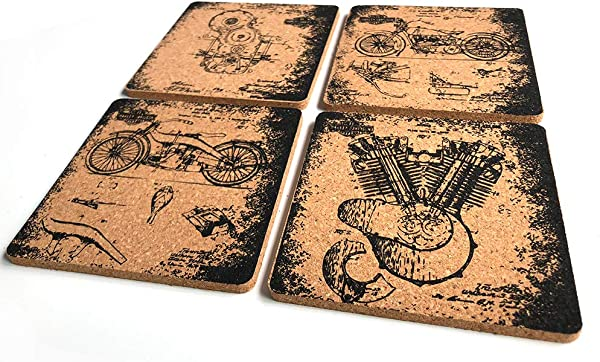 Harley Davidson Coasters For Drinks Set Of 4 Octopus Drinks Coasters 4 X 4x 0 19 Cork Backing Great Harley Davidson Fans Gifts