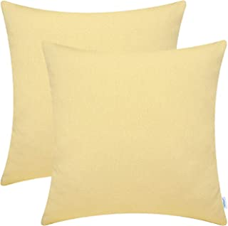 CaliTime Pack of 2 Soft Throw Pillow Covers Cases for Couch Sofa Home Decor Solid Shiny Faux Linen Woven Texture 18 X 18 Inches Soft Gold