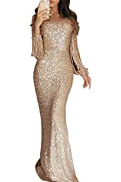 4505ee573e5 Elapsy Womens Sexy Sequins Tassel Long Sleeve Party Cocktail Bodycon Dress