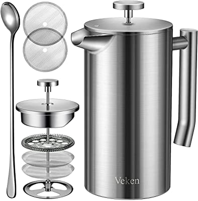 Veken French Press Double-Wall 18/10 Stainless Steel Coffee & Tea Maker, Multi-Screen System, 2 Extra Filters Included, Rust-Free, Dishwasher Safe, 34oz, Silver