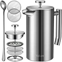 Veken French Press Double-Wall 18/10 Stainless Steel Coffee & Tea Maker, Multi-Screen System, 2 Extra Filters Included, Ru...