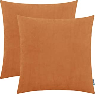 HWY 50 Velvet Soft Decorative Throw Pillows Covers Set Cushion Cases for Couch Sofa Living Room 20 x 20 inch Amber Pack of 2