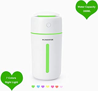 WeDoi Portable Ultrasonic Humidifier USB Car Humidifier 350Ml Car Mini Diffuser Cool Mist Humidifier Personal Humidifiers for Bedroom,Office,Car with Led Night Light, Automatic Shutdown Protection