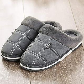 Sgfccyl Hommes Pantoufles d'hiver Keep Warm Vichy Suede en Peluche Courte Chaussures Indoor Homme Antiderapant mémoire Mou...