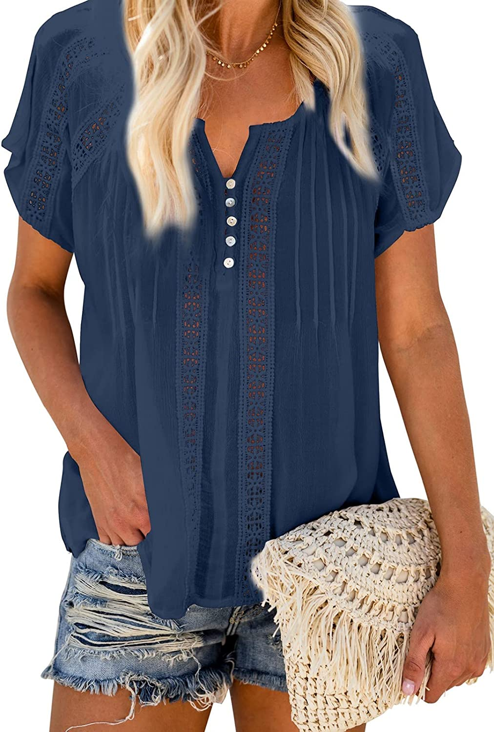 Uusollecy Women's V Neck Solid Crochet Tops, Lace Short Sleeves Blouse, Casual Summer Soft Shirts Blouse Tops