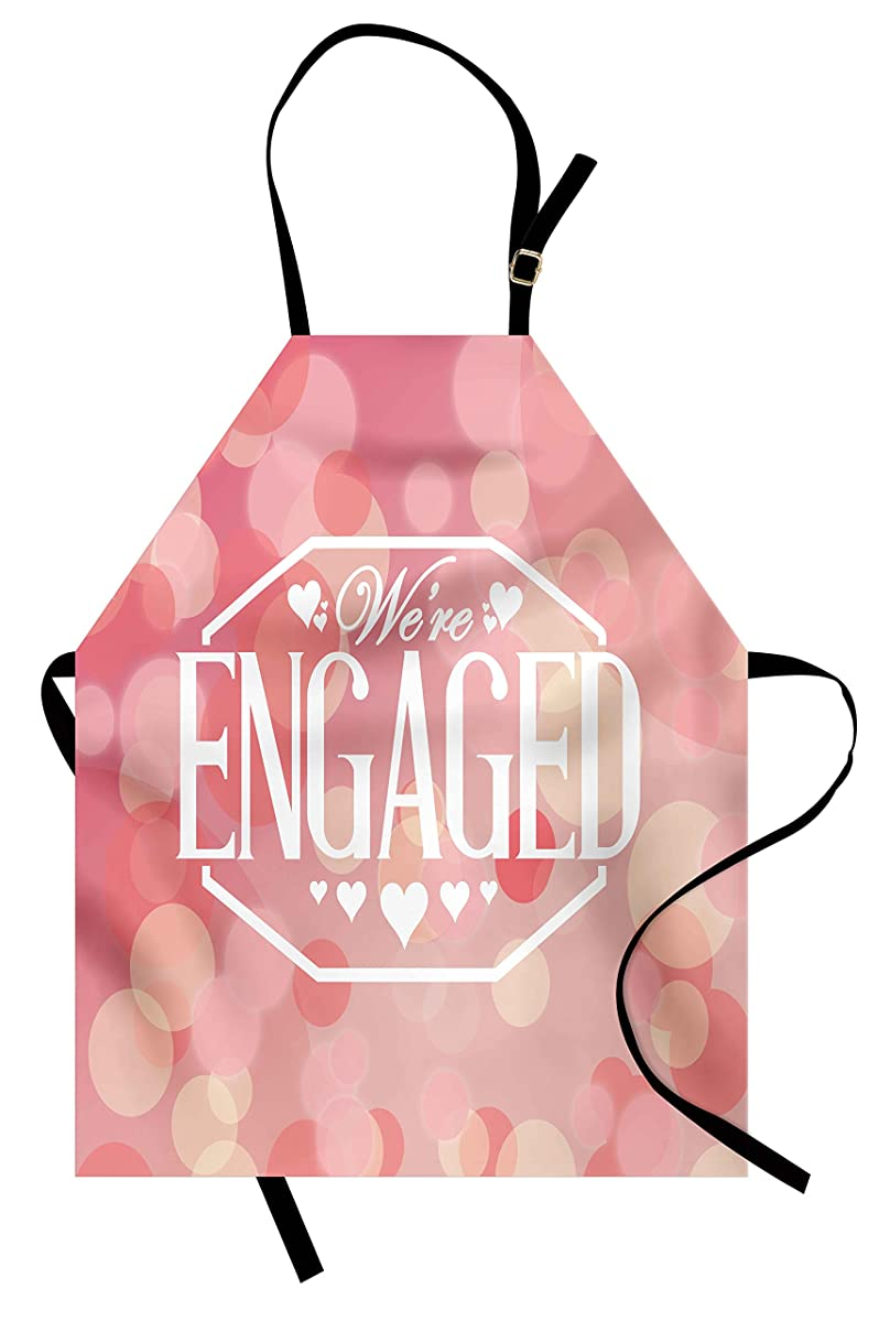 Ambesonne Engagement Party Apron, Engagement Party Cards with Blurry Abstract Circles Art Print, Unisex Kitchen Bib Apron with Adjustable Neck for Cooking Baking Gardening, Salmon Pink and White