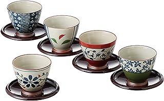西海陶器 波佐見焼 湯呑 煎茶碗 染錦いろどり 茶托 コースター 付 200 ml 5個 セット 13041