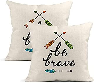 Set of 2 Cushion Covers Linen Be Brave Inspirational Quote Modern Phrase Arrows Pillowcases Square Soft Home Decor Design ...