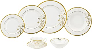 Porcelain Dinnerware Set, 28-Piece Service by Lorren Home Trends/Rosalia Design: Dinner Plates, Soup Bowls, Salad Plates, Butter Dishes, Coffee Cups with Saucers, Dessert Bowls