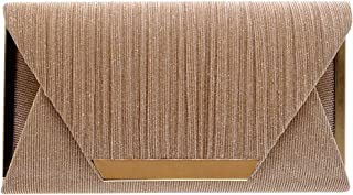 Women's Glitter Envelope Evening Bag Clutch Purse Handbag with Chain for Wedding Prom Cocktail Party