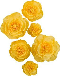 Letjolt Artificial Paper Flower Decorations for Wall Paper Peony Wedding Backdrop Baby Shower Bridal Shower Nursery Wall Decor(Yellow Set 6)